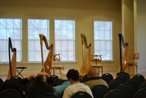 Harps ready for recital in OS auditorium