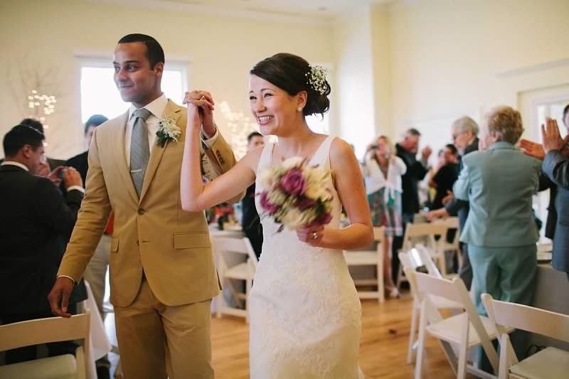 Welcoming the newlyweds at the Old School in Waterford in Loudoun County VA