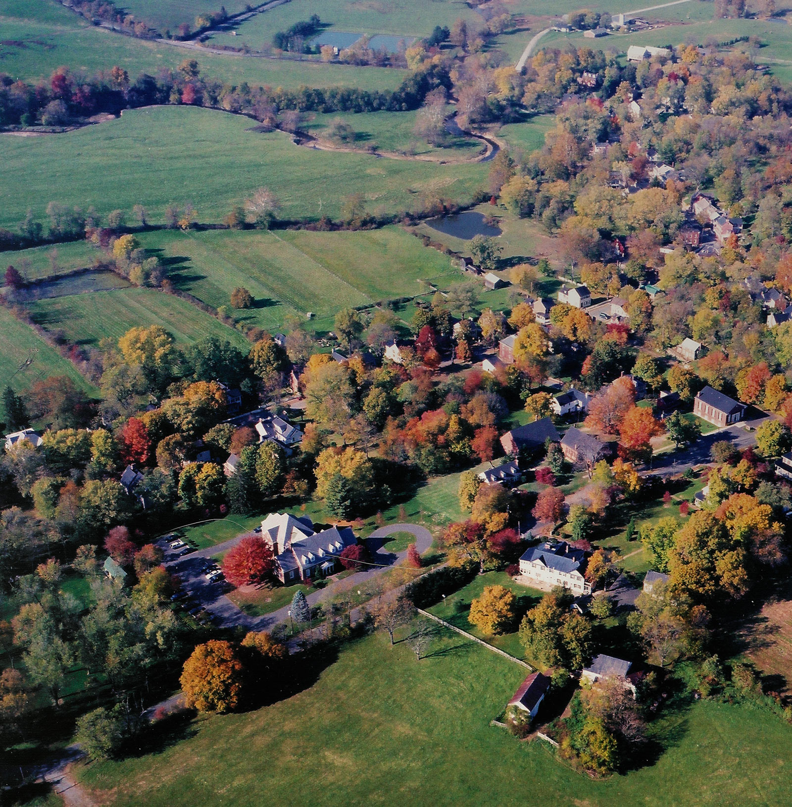 Aerial view of Waterford Virginia in the Fall