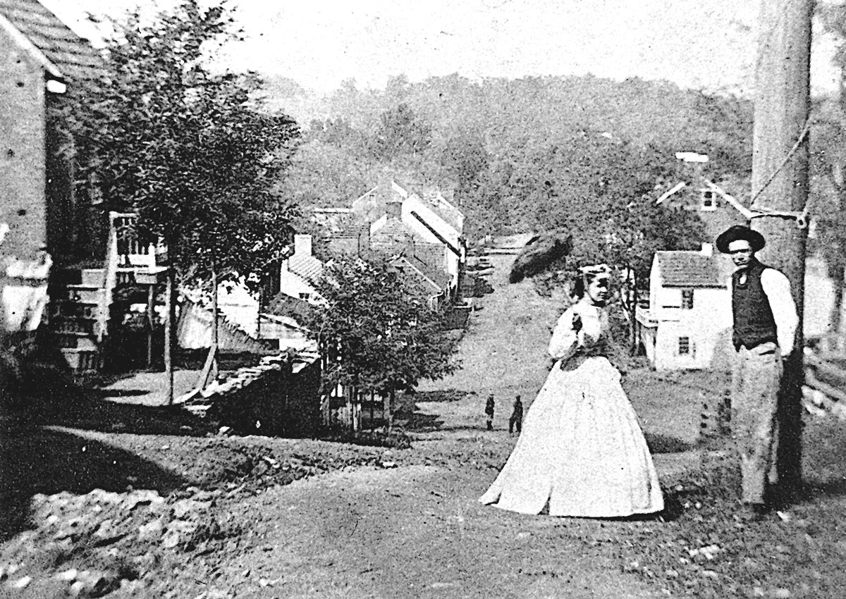 Looking down Main Street in 1860 in Waterford Va
