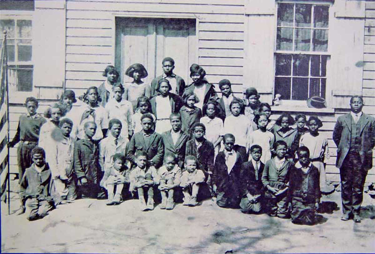 Mr. Winton Walker and his pupils, circa 1920 Second Street School Waterford VA