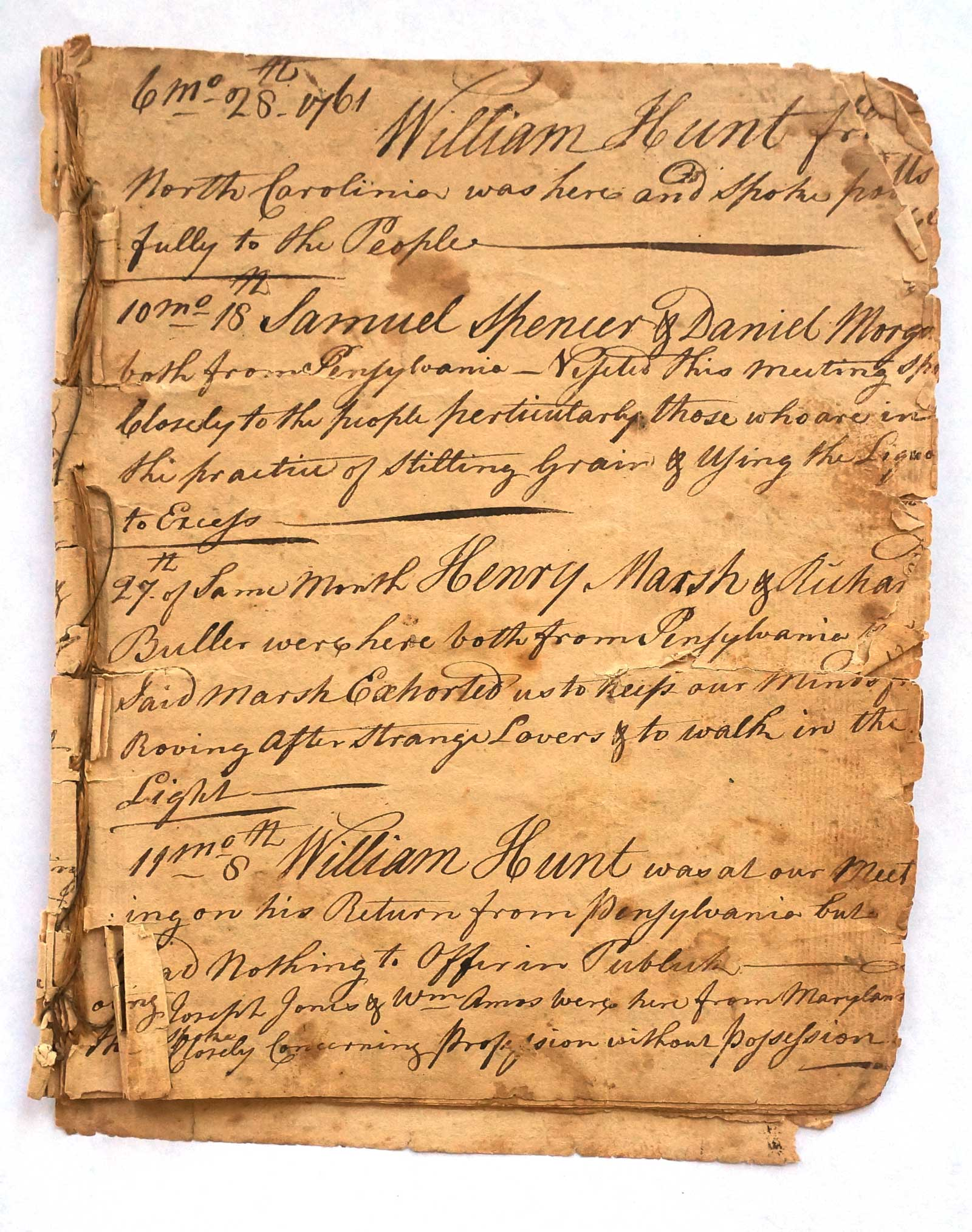 Quaker log book from Waterford Virginia