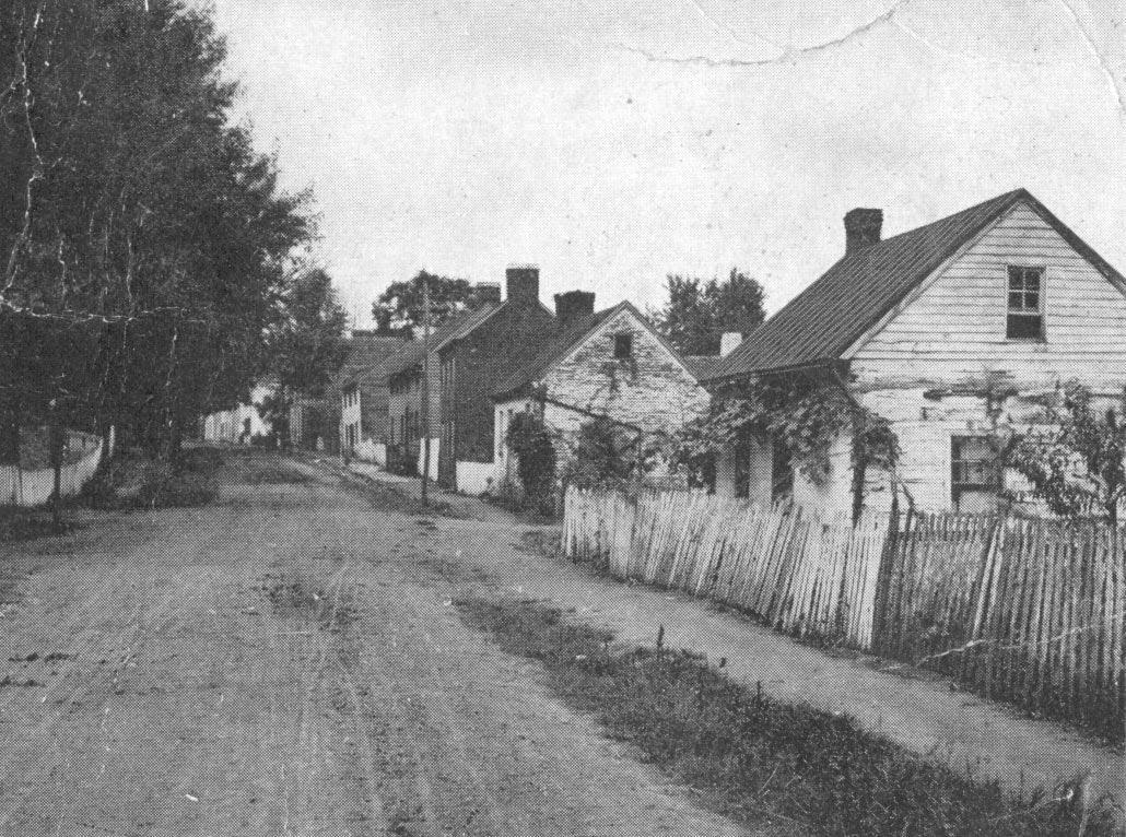 Lower Main Street in Waterford Virginia from a 1905 postcard