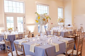 Wedding table setup at the Old School Blue