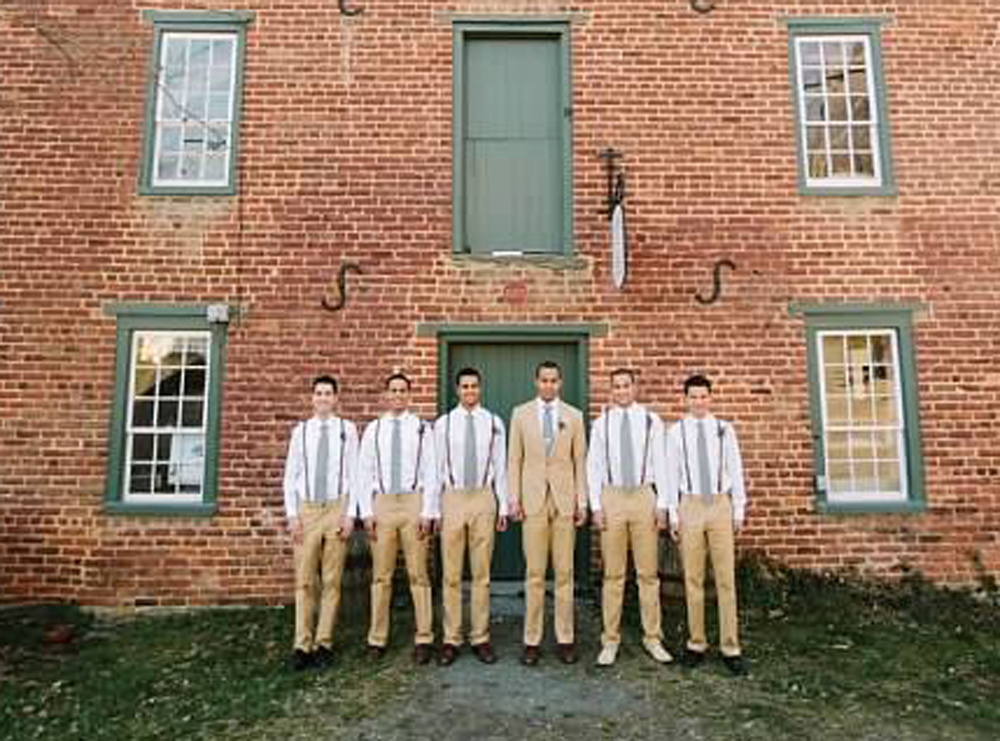 Groomsmen outside the Old Mill