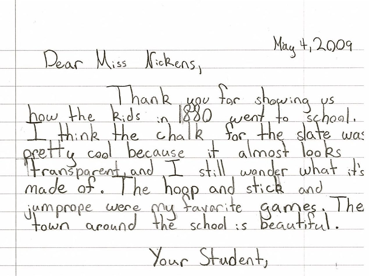 Second Street School student letter