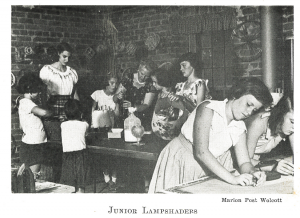 historic image of children building lampshades