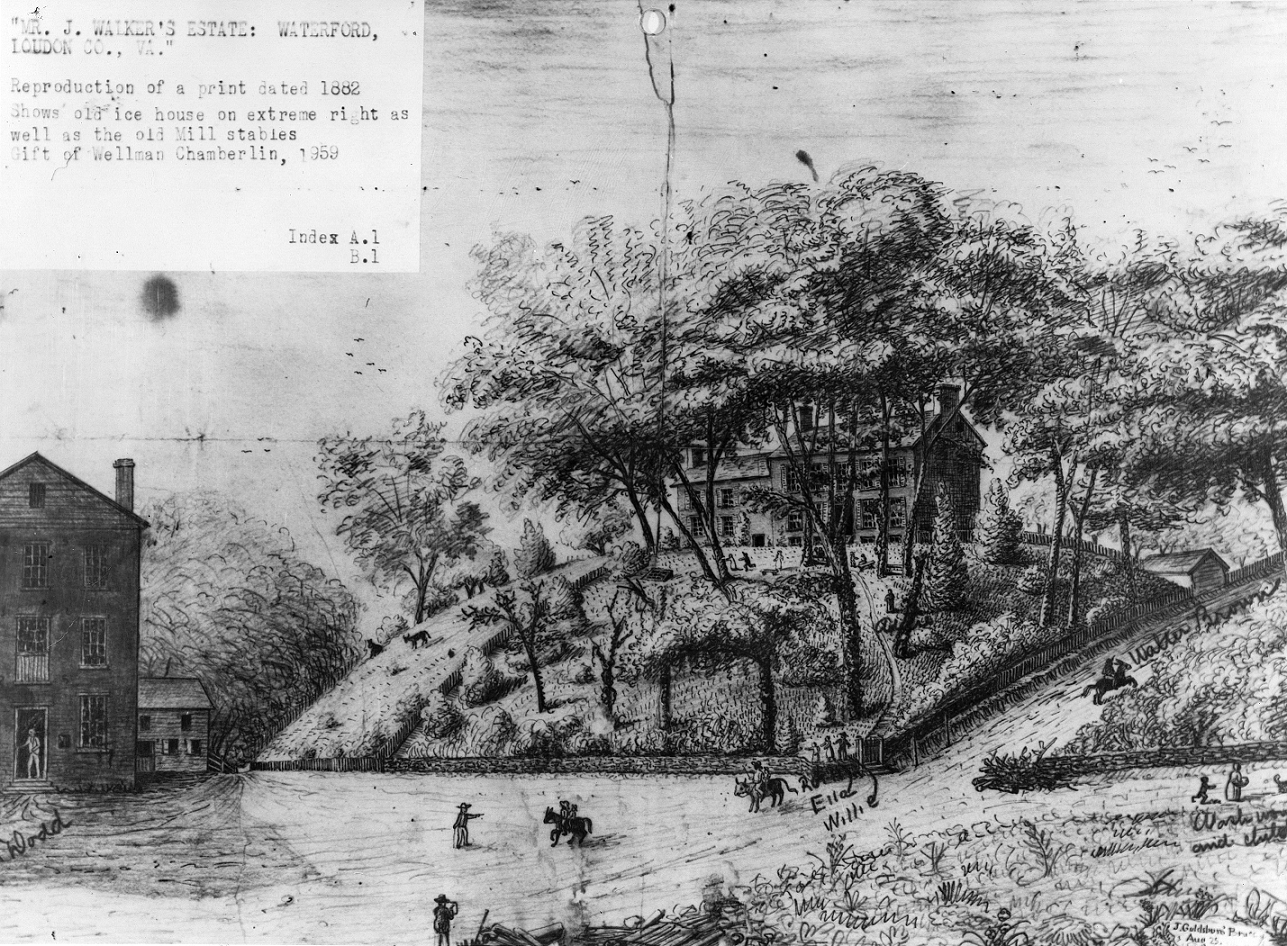 sketch of a house on a hill above the old Mill